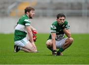 8 December 2013; A disappointed Craig Rogers, right, and Cahir Healy, Portlaoise, at the end of the game. AIB Leinster Senior Club Football Championship Final, Portlaoise, Laois v St Vincent's, Dublin, O'Connor Park, Tullamore, Co. Offaly. Picture credit: David Maher / SPORTSFILE