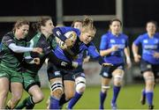 7 December 2013; Shannon Houston, Leinster, is tackled by Lisa McDonnagh and Jaqui Mulligan, Connacht. Women's Interprovincial, Leinster v Connacht, Ashbourne RFC, Ashbourne, Co. Meath. Picture credit: Matt Browne / SPORTSFILE