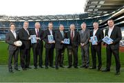 9 December 2013; Uachtarán Chumann Lúthchleas Gael Liam Ó Néill, Ard Stiúrthoir Paraic Duffy and Football Review Committee Chairman Eugene McGee with committee members from left, David Kelly, Seamus Mccarthy, Tim Healy, Kevin Griffin, Tony Scullion and Paul Earley, at the launch of the Second Report of the Football Review Committee. Croke Park, Dublin. Picture credit: Paul Mohan / SPORTSFILE