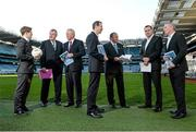 9 December 2013;  At the launch of the Second Report of the Football Review Committee is Uachtarán Chumann Lúthchleas Gael Liam Ó Néill with committee members, from left, David Kelly, Seamus McCarthy, Tim Healy, Kevin Griffin, Paul Earley, and Tony Scullion. Croke Park, Dublin. Picture credit: Paul Mohan / SPORTSFILE
