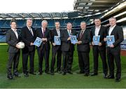 9 December 2013; Uachtarán Chumann Lúthchleas Gael Liam Ó Néill and Football Review Committee Chairman Eugene McGee with committee members from left, David Kelly, Seamus McCarthy, Tim Healy, Kevin Griffin, Paul Earley, and Tony Scullion, at the launch of the Second Report of the Football Review Committee. Croke Park, Dublin. Picture credit: Paul Mohan / SPORTSFILE