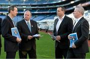 9 December 2013; Uachtarán Chumann Lúthchleas Gael Liam Ó Néill with committee members Kevin Griffin, left, Paul Earley and Tony Scullion, right, at the launch of the Second Report of the Football Review Committee. Croke Park, Dublin. Picture credit: Paul Mohan / SPORTSFILE