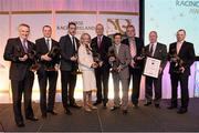 9 December 2013; Winners, from left to right, Jim Bolger, Contribution to the Industry award, Jamie Codd, Point to Point award, Brendan Boyd, Racehorse of the Year, Hurricane Fly, Maureen Mullins, National Hunt award, Minister for Agriculture, Food and the Marine Simon Coveney T.D, Johnny Murtagh, Flat award winner, Jim Martin and Leo McAuley, Racecourse of the year award for Dundalk, and Barry Cash, Outstanding Achievement award. Horse Racing Ireland Awards, The Pavilion, Leopardstown Racecourse, Leopardstown, Co. Dublin. Picture credit: David Maher / SPORTSFILE