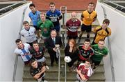11 December 2013; In attendance at Croke Park where the draws for the 2013 Irish Daily Mail Higher Education GAA Championships were made are Sigerson footballers, back row, from left, Matthew Donnelly, UUJ, Brian Menton, DIT, and Colm Begley, DCU. Third row, from left, Darren Wallace, IT Tralee, Graham Geraghty, IT Blanchardstown, Danny McBride, St. Marys Belfast, and Paddy Brophy, NUIM. Second row, from left, Jonathan Duane, GMIT, Stephen Coen, IT Sligo, Uachtarán Chumann Lúthchleas Gael Liam Ó Néill, Sinead Lambe, Marketing Manager, Irish Daily Mail, Mick O'Grady, Trinity, and Martin McElhinney, Queens. Front row, from left, Darren Hayden, IT Carlow, and Robbie Kiely, NUI Galway. The draws are available on www.he.gaa.ie. Croke Park, Dublin. Picture credit: Barry Cregg / SPORTSFILE