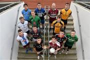 11 December 2013; In attendance at Croke Park where the draws for the 2013 Irish Daily Mail Higher Education GAA Championships were made are Sigerson footballers, back row, from left, Matthew Donnelly, UUJ, Brian Menton, DIT, and Colm Begley, DCU. Third row, from left, Darren Wallace, IT Tralee, Graham Geraghty, IT Blanchardstown, Danny McBride, St. Marys Belfast, and Paddy Brophy, NUIM. Second row, from left, Jonathan Duane, GMIT, Stephen Coen, IT Sligo, Mick O'Grady, Trinity, and Martin McElhinney, Queens. Front row, from left, Darren Hayden, IT Carlow, and Robbie Kiely, NUI Galway. The draws are available on www.he.gaa.ie. Croke Park, Dublin. Picture credit: Barry Cregg / SPORTSFILE