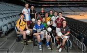 11 December 2013; In attendance at Croke Park, where the draws for the 2013 Irish Daily Mail Higher Education GAA Championships were made, are Sigerson footballers back row, from left, Darren Hayden, IT Carlow, Mick O'Grady, Trinity, and  Martin McElhinney, Queens. Second row from left, Jonathan Duane, GMIT, Graham Geraghty, IT Blanchardstown, Colm Begley, DCU, Darren Wallace, IT Tralee, and Robbie Kiely, NUI Galway. Front row from left, Paddy Brophy, NUIM, Brian Menton, DIT, and Stephen Coen, IT Sligo. The draws are available on www.he.gaa.ie. Croke Park, Dublin. Picture credit: Barry Cregg / SPORTSFILE
