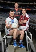 11 December 2013; In attendance at Croke Park where the draws for the 2013 Irish Daily Mail Higher Education GAA Championships were made are Sigerson footballers Jonathan Duane, left, GMIT, Stephen Coen, IT Sligo and Robbie Kiely, NUI Galway. The draws are available on www.he.gaa.ie. Croke Park, Dublin. Picture credit: Barry Cregg / SPORTSFILE