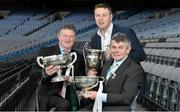 12 December 2013; Today Bord na Móna launched the O'Byrne, Walsh, and Kehoe cup competitions for 2014. In attendance at the Leinster launch are, from left, Gerry O'Hagan, Head of Marketing and Communications, Bord na Móna, Paul Bealin, Westmeath football manager, and Martin Skelly, Chairman of the Leinster Council. Leinster Launch of the 2014 Bord na Mona O'Byrne Cup, Walsh Cup, Kehoe Cup Competitions, Croke Park, Dublin. Picture credit: Barry Cregg / SPORTSFILE