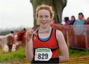 15 December 2013; Emma O'Brien, from Wicklow Town, who came second in the Girls under-15 3500m at the Woodie's DIY National Novice & Even Age Cross Country Championships. WIT Sports Campus, Carriganore, Co. Waterford. Picture credit: Matt Browne / SPORTSFILE