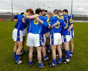 12 March 2005; The Longford team listen to their captain Niall Sheridan before the start of the game. Allianz National Football League, Division 2A, Clare v Longford, Cusack Park, Ennis, Co. Clare. Picture credit; Ray McManus / SPORTSFILE