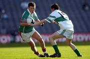 17 March 2005; Paul McGarry, Ballina Stephenites, in action against Craig Rogers, Portlaoise. AIB All-Ireland Club Senior Football Championship Final, Portlaoise v Ballina Stephenites, Croke Park, Dublin. Picture credit; Ray McManus / SPORTSFILE