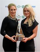 21 December 2013; Galway camogie players, who were nominated for team of the year, Therese Maher, left, and Lorraine Ryan in attendance at the RTÉ Sports Awards 2013. RTÉ Studios, Donnybrook, Dublin. Picture credit: Paul Mohan / SPORTSFILE