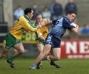 20 March 2005; Declan Lally, Dublin, in action against Damien Diver, left, and Brian Roper, Donegal. Allianz National Football League, Division 1A, Dublin v Donegal, Parnell Park, Dublin. Picture credit; Brian Lawless / SPORTSFILE