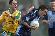 20 March 2005; Declan Lally, Dublin, in action against Damien Diver, Donegal. Allianz National Football League, Division 1A, Dublin v Donegal, Parnell Park, Dublin. Picture credit; Brian Lawless / SPORTSFILE
