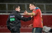 27 December 2013; Munster captain James Coughlan argues with touch judge Sean Gallagher after Connacht scored a try in the final minute of the game. Celtic League 2013/14, Round 11, Munster v Connacht, Thomond Park, Limerick. Picture credit: Brendan Moran / SPORTSFILE
