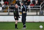 5 January 2014; Athlone IT goalkeeper Gary Connaughton is cautioned by referee Derek Fahy after kicking the ball out of the stadium. Bord na Mona O'Byrne Cup, Group B, Round 1, Kildare v Athlone IT, St Conleth's Park, Newbridge, Co. Kildare. Picture credit: Piaras Ó Mídheach / SPORTSFILE