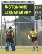 3 April 2005; Instonians goalkeeper Andrew Seay makes his way over to console team-mate Tim Taylor after Instonians were defeated in the final. Mens Irish Senior Cup Final, Instonians v Lisnagarvey, Belfield, UCD, Dublin. Picture credit; Brian Lawless / SPORTSFILE