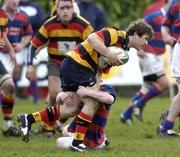 9 April 2005; Gordon D'Arcy, Lansdowne, is tackled by David McAllister, Clontarf. AIB All Ireland League 2004-2005, Division 1, Clontarf v Lansdowne, Castle Avenue, Dublin. Picture credit; Matt Browne / SPORTSFILE