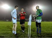 8 January 2014; Referee Niall Ward shows the result of the coin toss to Longford captain Damien Sheridan, right, and Kildare captain Eoghan O'Flaherty. Bord na Mona O'Byrne Cup, Group B, Round 2, Longford v Kildare, Newtowncashel, Co. Longford. Picture credit: David Maher / SPORTSFILE