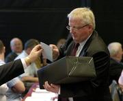 16 April 2005; Leinster Council Secretary and a teller at Congress Michael Delaney collecting votes on the Rule 42 motion at the 2005 GAA Congress. Croke Park, Dublin. Picture credit; Ray McManus / SPORTSFILE