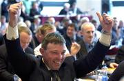 16 April 2005; Sligo delegate Joe Queenan celebrates the passing of the Rule 42 Motion at the 2005 GAA Congress. Croke Park, Dublin. Picture credit; Ray McManus / SPORTSFILE
