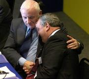16 April 2005; President elect Nickey Brennan is congratulated by Tomas Moran, Vice President of the GAA, during the 2005 GAA Congress. Croke Park, Dublin. Picture credit; Pat Murphy / SPORTSFILE