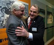 16 April 2005; President elect Nickey Brennan is congratulated by former GAA President Paddy Buggy, left,  at the 2005 GAA Congress. Croke Park, Dublin. Picture credit; Ray McManus / SPORTSFILE