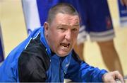 10 January 2014; Bord Gáis Neptune coach Mark Scannell speaks to his team during a timeout. Basketball Ireland Men's National Cup Semi-Final 2014, Bord Gáis Neptune v Dublin Inter, Neptune Stadium, Cork. Picture credit: Brendan Moran / SPORTSFILE