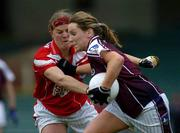 30 April 2005; Marie O'Connell, Galway, is tackled by Deirdre O'Reilly, Cork. Suzuki Ladies National Football League, Division 1 Final, Cork v Galway, Gaelic Grounds, Limerick. Picture credit; Ray McManus / SPORTSFILE