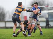 14 January 2014; Ruadhan McDonnell, Wilson's Hospital, is tackled by Sam Wrafter, left, and Alan Bennett, The King's Hospital. Fr. Godfrey Cup, 1st Round, Wilson's Hospital v The King's Hospital, Cill Dara RFC, Beech Park, Dunmurray West, Kildare. Picture credit: Piaras Ó Mídheach / SPORTSFILE