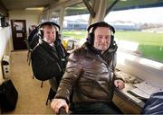 5 January 2014; RTE GAA correspondent Brian Carthy, left, alongside analyst and former Meath footballer Bernard Flynn. Bord na Mona O'Byrne Cup, Group D, Round 1, Westmeath v Dublin, Cusack Park, Mullingar, Co. Westmeath. Picture credit: Barry Cregg / SPORTSFILE