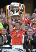1 May 2005; Armagh captain Kieran McGeeney lifts the cup after his side defeated Wexford. Allianz National Football League, Division 1 Final, Armagh v Wexford, Croke Park, Dublin. Picture credit; Brendan Moran / SPORTSFILE
