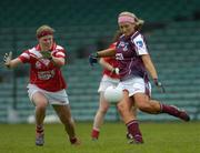 30 April 2005; Patricia Gleeson, Galway, in action against Deirdre O'Reilly, Cork. Suzuki Ladies National Football League, Division 1 Final, Cork v Galway, Gaelic Grounds, Limerick. Picture credit; Ray McManus / SPORTSFILE