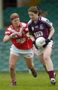 30 April 2005; Michelle Glynn, Galway, in action against Deirdre O'Reilly, Cork. Suzuki Ladies National Football League, Division 1 Final, Cork v Galway, Gaelic Grounds, Limerick. Picture credit; Ray McManus / SPORTSFILE