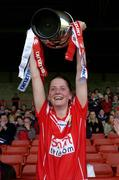 30 April 2005; Cork captain Juliette Murphy lifts the trophy. Suzuki Ladies National Football League, Division 1 Final, Cork v Galway, Gaelic Grounds, Limerick. Picture credit; Ray McManus / SPORTSFILE