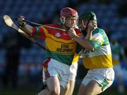 7 May 2005; Pat Coady, Carlow, in action against Barry Teehan, Offaly. Allianz National Hurling League, Division 2 Final, Offaly v Carlow, O' Moore Park, Portlaoise, Co. Laois. Picture credit; Ray McManus / SPORTSFILE