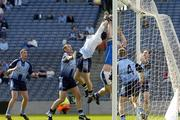 15 May 2005; Dublin players from left Barry Cahill, Ciaran Whelan, Stephen Cluxton, Goalkeeper, Stephen O'Shaughnessy and Paddy Christie in action against Niall Sheridan, Longford. Bank Of Ireland Leinster Senior Football Championship, Dublin v Longford, Croke Park, Dublin. Picture credit; Damien Eagers / SPORTSFILE