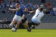 15 May 2005; Longford's Niall Sheridan in action against Dublin's Paddy Christie and goalkeeper Stephen Cluxton. Bank Of Ireland Leinster Senior Football Championship, Dublin v Longford, Croke Park, Dublin. Picture credit; Damien Eagers / SPORTSFILE