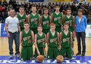 22 January 2014; The Calasanctius College team. All-Ireland Schools Cup U16A Boys Final, Calasanctius College, Oranmore, Co. Galway v St Joseph's Patrician College, Nun's Island, Co. Galway. National Basketball Arena, Tallaght, Co. Dublin. Picture credit: David Maher / SPORTSFILE