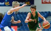 22 January 2014; Eoin Rochall, Calasanctius College, in action against Max Brennan, St Joseph's Patrician College. All-Ireland Schools Cup U16A Boys Final, Calasanctius College, Oranmore, Co. Galway v St Joseph's Patrician College, Nun's Island, Co. Galway. National Basketball Arena, Tallaght, Co. Dublin. Picture credit: David Maher / SPORTSFILE