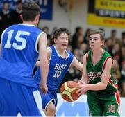 22 January 2014; Stephen Commins, Calasanctius College, in action against Ciaran Blaney, St Joseph's Patrician College. All-Ireland Schools Cup U16A Boys Final, Calasanctius College, Oranmore, Co. Galway v St Joseph's Patrician College, Nun's Island, Co. Galway. National Basketball Arena, Tallaght, Co. Dublin. Picture credit: David Maher / SPORTSFILE