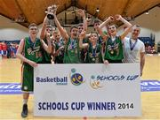 22 January 2014; The Calasanctius College players celebrate with the cup. All-Ireland Schools Cup U16A Boys Final, Calasanctius College, Oranmore, Co. Galway v St Joseph's Patrician College, Nun's Island, Co. Galway. National Basketball Arena, Tallaght, Co. Dublin. Picture credit: David Maher / SPORTSFILE
