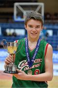 22 January 2014; Calasanctius College captain Eoin Rochall celebrates with the cup. All-Ireland Schools Cup U16A Boys Final, Calasanctius College, Oranmore, Co. Galway v St Joseph's Patrician College, Nun's Island, Co. Galway. National Basketball Arena, Tallaght, Co. Dublin. Picture credit: David Maher / SPORTSFILE