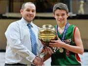 22 January 2014; Eoin Rochall, Calasanctius College, is presented with the MVP by Conor Lilly, Basketball Ireland. All-Ireland Schools Cup U16A Boys Final, Calasanctius College, Oranmore, Co. Galway v St Joseph's Patrician College, Nun's Island, Co. Galway. National Basketball Arena, Tallaght, Co. Dublin. Picture credit: David Maher / SPORTSFILE