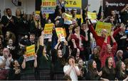 22 January 2014; Supporters from Calasanctius College cheer on their team. All-Ireland Schools Cup U16A Boys Final, Calasanctius College, Oranmore, Co. Galway v St Joseph's Patrician College, Nun's Island, Co. Galway. National Basketball Arena, Tallaght, Co. Dublin. Picture credit: David Maher / SPORTSFILE