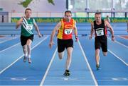 25 January 2014; Former Down footballer Mickey Linden, centre, Mid-Ulster A.C, in action on his way to winning the M4 60m race ahead of Jimmy O'Neill, right, Menapians A.C. Wexford, and Pat Power, left, St. Josephs A.C. Kilkenny, during in the Woodie's DIY Master Indoor Championships of Ireland. Athlone Institute of Technology Arena, Athlone, Co. Westmeath. Picture credit: Barry Cregg / SPORTSFILE