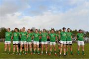 26 January 2014; The Leitrim team line up during the playing of the National Anthem. FBD League, Final, Leitrim v Roscommon. Páirc Sean Mac Diarmada, Carrick on Shannon, Co. Leitrim. Picture credit: David Maher / SPORTSFILE
