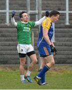 26 January 2014; John Mulligan, Leitrim, celebrates after scoring his side's second goal. FBD League, Final, Leitrim v Roscommon. Páirc Sean Mac Diarmada, Carrick on Shannon, Co. Leitrim. Picture credit: David Maher / SPORTSFILE