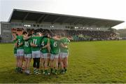 26 January 2014; Leitrim team form a huddle before the start of the game. FBD League, Final, Leitrim v Roscommon. Páirc Sean Mac Diarmada, Carrick on Shannon, Co. Leitrim. Picture credit: David Maher / SPORTSFILE