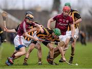 26 January 2014; Kilkenny's Shane Prendergast, supported by team mates Conor Fogarty and Paraic Phelan, in action against Galway players Padraig Landers and Jonathan Glynn. Bord Na Mona Walsh Cup, Semi-Final, Kilkenny v Galway, St. Lachtain's GAA Club, Freshford, Co. Kilkenny. Picture credit: Ray McManus / SPORTSFILE